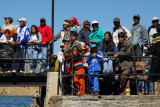 Crowds gathered an the pier of Puno harbor