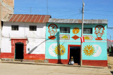 House painted with traditional sympols, Vilque