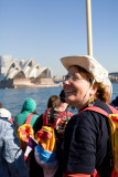 Pilgrim on Manly ferry with Opera House  backdrop