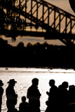 Silhouettes of those waiting to see Pope on Sydney Harbour