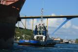 Tug boat pulling a cargo ship