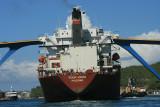 Cargo ship approaching the Queen Juliana Bridge