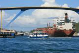 Ship going under the Queen Juliana Bridge