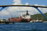 Ship under the Ship going under the Queen Juliana Bridge