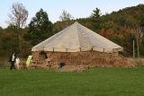 Hay bale hut