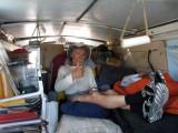 Ted in Gordon's support van near Pie Town