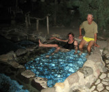 Richard with Martina in the hot springs at Doc Campbells New Mexico