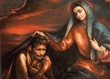 Our Lady of Guadalupe sheltering Juan Diego and all of her children under her mantle.