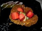 Strawberries on caramel cookie - a favorite dessert