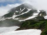 The mountain peaks appear