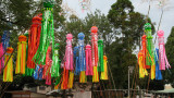 Groups of streamers hanging near the shrine