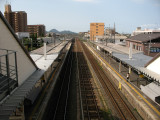 Above the tracks at Ōmi Hachiman station