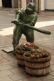 Cartoonish baseball statue, Furumachi Arcade