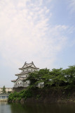 Cloud-streaked sky over the Sangai-yagura