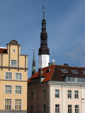 Town spire and nearby buildings