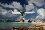Air France arrives over Maho Beach
