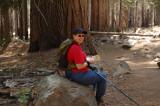 Glynda hiking the Mariposa Grove