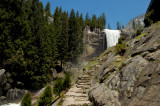 The Mist Trail's granite steps to the top of Vernal Falls