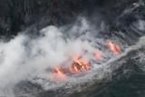 Lava at Sunset, Flight Hilo to Kilauea, Jan. 2007