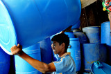 Blue waterbarrel