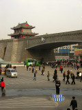Directing traffic under the city walls of Xi'an