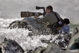 Thanks to my wife, this is a shot of me taking some shots of Common Eiders.