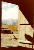 Looking out shepard's hut door