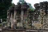 Terrace of the Elephants is part of the walled city of Angkor Thom, a ruined temple complex in Cambodia