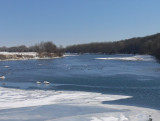 Ice and blue water