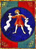Aquarius, from a Book of Hours, Italy, circa 1475