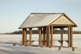 Not much snow so far this year; shelter in Moosonee above boat docks