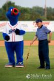 Kazoo, Mr. Joe Chambers throws first pitch.