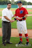 Chris Allen, COO of the South Coast League, awards Scott Robinson Most Outstanding Hitter