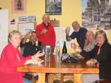 Enjoying a glass of cava with Ramon and Maria Teresa, hospitaleros at the Najera albergue