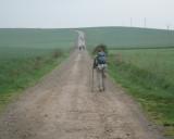 Cathy walking the meseta near Grañon
