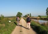 Elke, Peter and Hill alongside the Canal de Castilla
