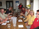 Communal pilgrim dinner at the albergue in Bercianos