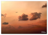 Sun set aeroplane