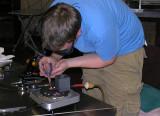 Brett, placing glass elements into the Stumpsucker