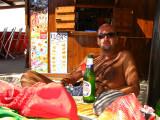 Massimo enjoying a cold beer