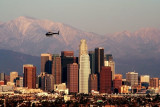 Downtown LA in Late Afternoon Light with LAPD Chopper