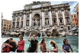 Pam Tosses a Coin Into the Trevi Fountain