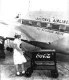 1947 - Lady selling Coca Cola at the National Airlines terminal in Jacksonville, FL