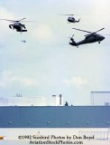 1992 - US Army helicopters landing at former Eastern maintenance base during Hurricane Andrew relief operations