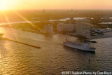 1987 - View of cruise liner leaving Port Everglades Inlet from USCG HU-25 Falcon