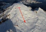 Arrow Indicates Approximate Slide Path (MtBaker110804-148adjA.jpg)