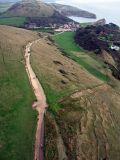 Kite's view of Lulworth cove in Dorset