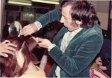 Santilli doing a shage haircut demonstration before 1970. At Vidal Sassoon's first school in Knigtsbridge London. First layerd