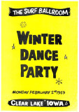 Winter Dance Party poster (replica created decades afterward) for the Surf Ballroom at Clear Lake, Iowa, February 2, 1959