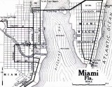 1919 - Map of Miami and Miami Beach with old street numbering system